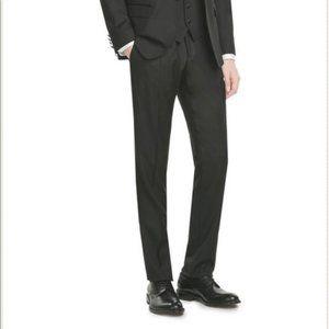 Dolce & Gabbana Wool Silk Satin Stripe Black Dress Pants - Sz 50